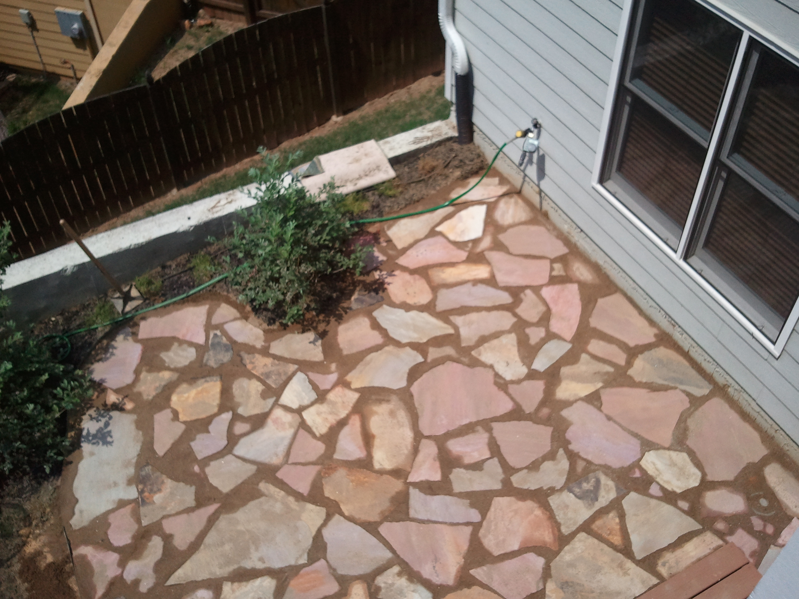 Flagstone Patio In Sand And Mortar Mix